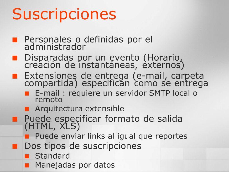 Suscripciones Personales o definidas por el administrador Disparadas por un evento (Horario, creación de instantáneas, externos) Extensiones de entreg