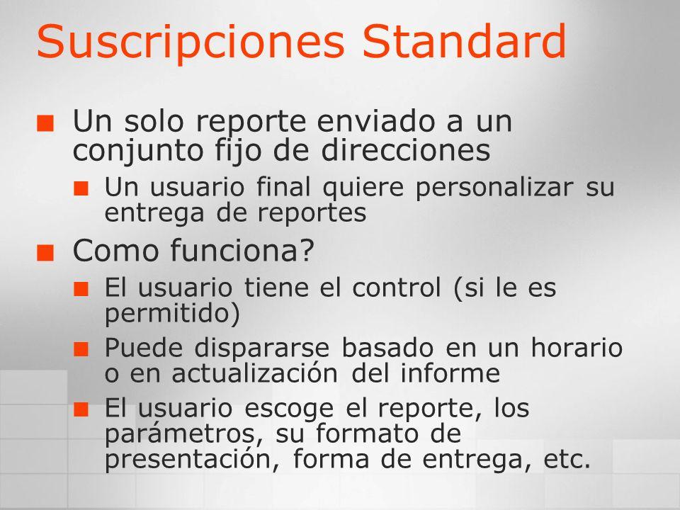 Suscripciones Standard Un solo reporte enviado a un conjunto fijo de direcciones Un usuario final quiere personalizar su entrega de reportes Como func