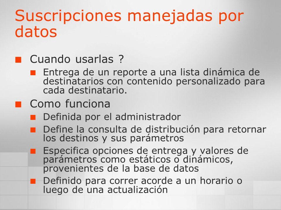 Suscripciones manejadas por datos Cuando usarlas ? Entrega de un reporte a una lista dinámica de destinatarios con contenido personalizado para cada d