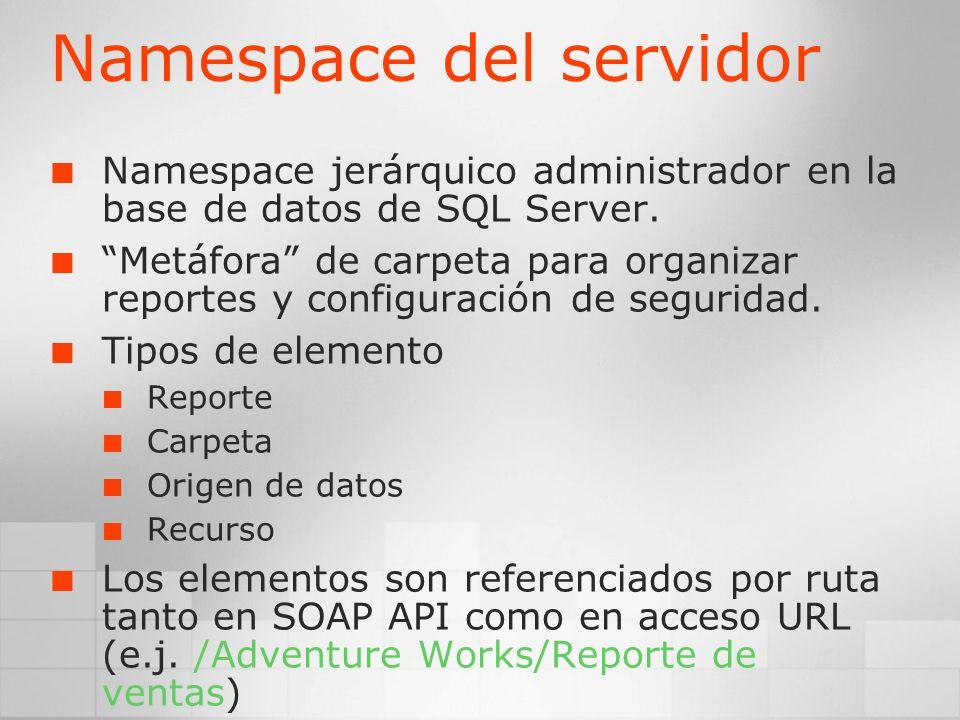 Namespace del servidor Namespace jerárquico administrador en la base de datos de SQL Server. Metáfora de carpeta para organizar reportes y configuraci