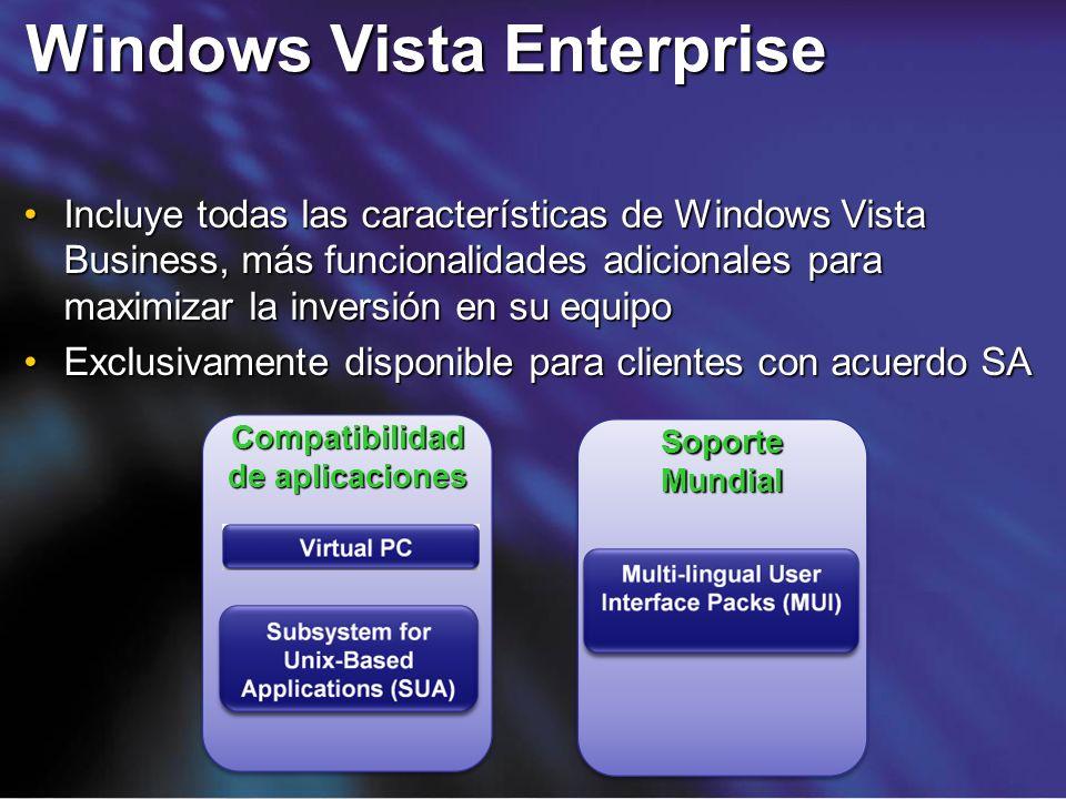 Windows Vista Enterprise Incluye todas las características de Windows Vista Business, más funcionalidades adicionales para maximizar la inversión en s