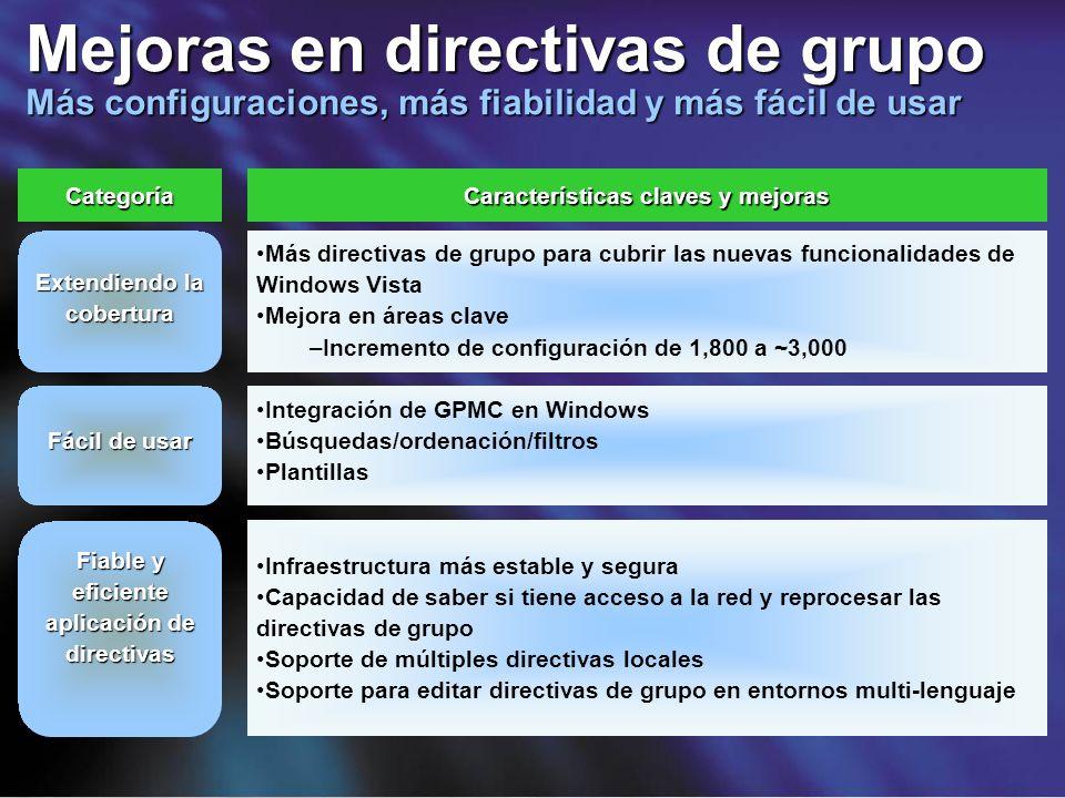 Categoría Características claves y mejoras Más directivas de grupo para cubrir las nuevas funcionalidades de Windows Vista Mejora en áreas clave –Incr