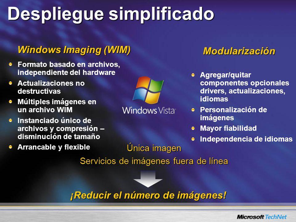 Windows Imaging (WIM) Despliegue simplificado Única imagen Servicios de imágenes fuera de línea Modularización Formato basado en archivos, independien