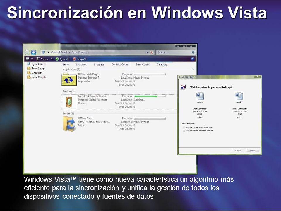 Windows Vista tiene como nueva característica un algoritmo más eficiente para la sincronización y unifica la gestión de todos los dispositivos conecta