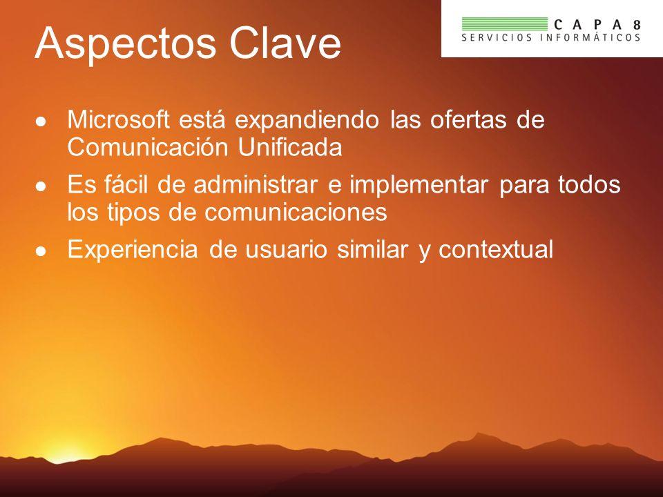 Aspectos Clave Microsoft está expandiendo las ofertas de Comunicación Unificada Es fácil de administrar e implementar para todos los tipos de comunicaciones Experiencia de usuario similar y contextual