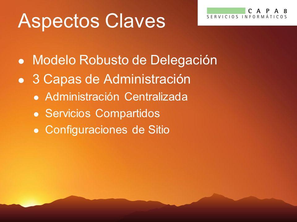 Aspectos Claves Modelo Robusto de Delegación 3 Capas de Administración Administración Centralizada Servicios Compartidos Configuraciones de Sitio