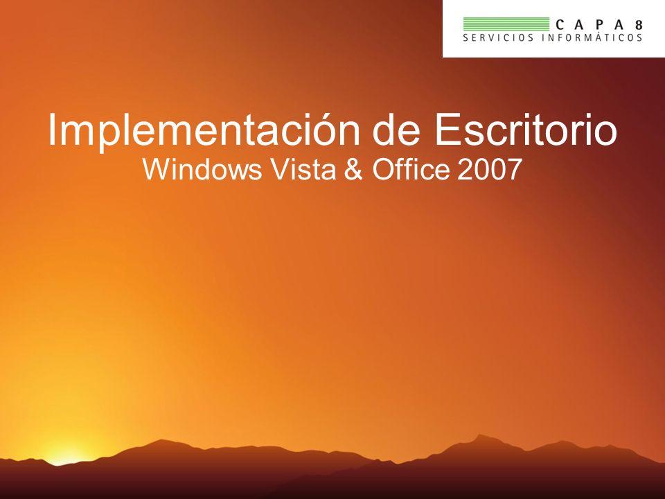Aspectos Clave Implementación Simplificada para Windows Vista y Office 2007 Business Desktop Deployment (BDD) es LA mejor metodología práctica para la implementación de escritorio Windows Deployment Services vendrá en Windows 2003 SP2 Resuelve la compatibilidad de aplicaciones y documentos Reduce el tiempo de implementación, los costos y la complejidad