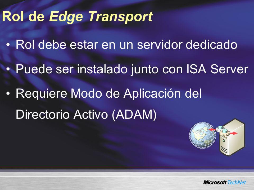 Rol de Edge Transport Rol debe estar en un servidor dedicado Puede ser instalado junto con ISA Server Requiere Modo de Aplicación del Directorio Activo (ADAM)
