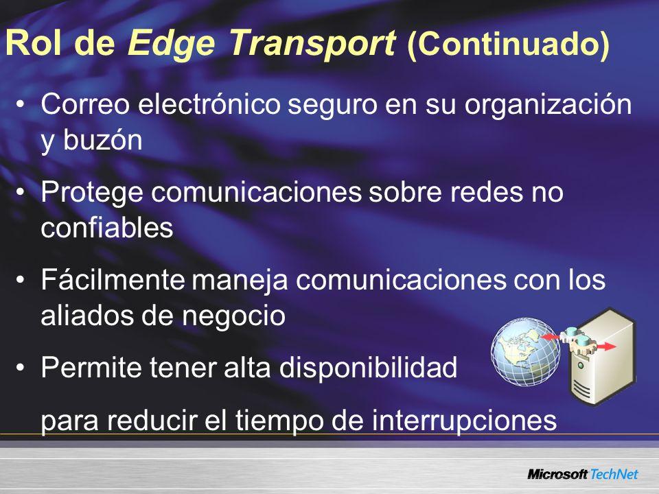 Rol de Edge Transport (Continuado) Correo electrónico seguro en su organización y buzón Protege comunicaciones sobre redes no confiables Fácilmente maneja comunicaciones con los aliados de negocio Permite tener alta disponibilidad para reducir el tiempo de interrupciones
