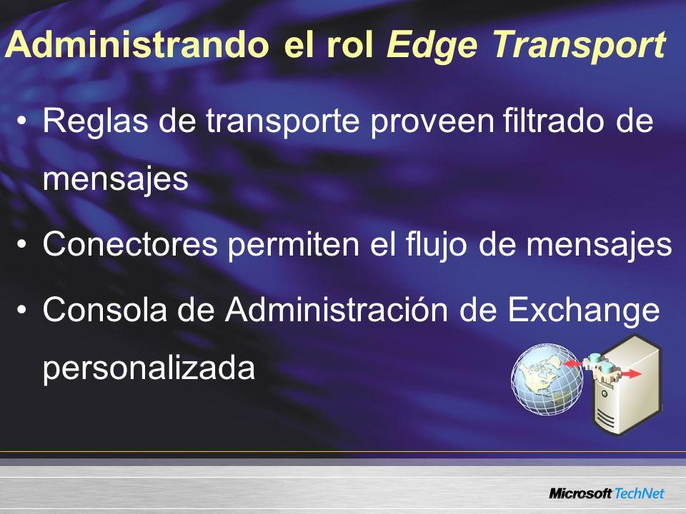 Administrando el rol Edge Transport Reglas de transporte proveen filtrado de mensajes Conectores permiten el flujo de mensajes Consola de Administración de Exchange personalizada