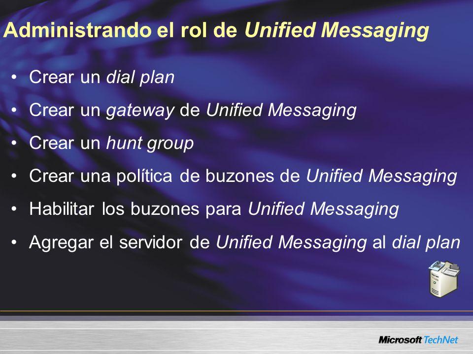 Administrando el rol de Unified Messaging Crear un dial plan Crear un gateway de Unified Messaging Crear un hunt group Crear una política de buzones d