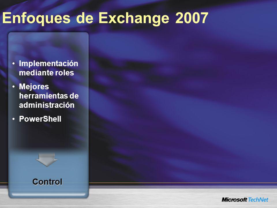 Enfoques de Exchange 2007 Implementación mediante roles Mejores herramientas de administración PowerShell Control Acceso desde cualquier lado Usuarios quieren fácil acceso a todas sus comunicaciones El uso de dispositivos móviles es más común