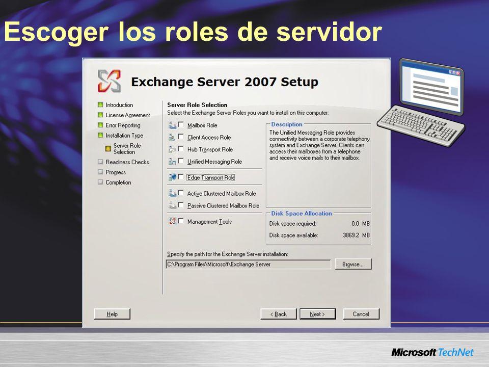Escoger los roles de servidor