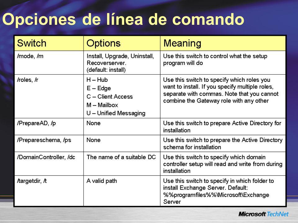 Opciones de línea de comando