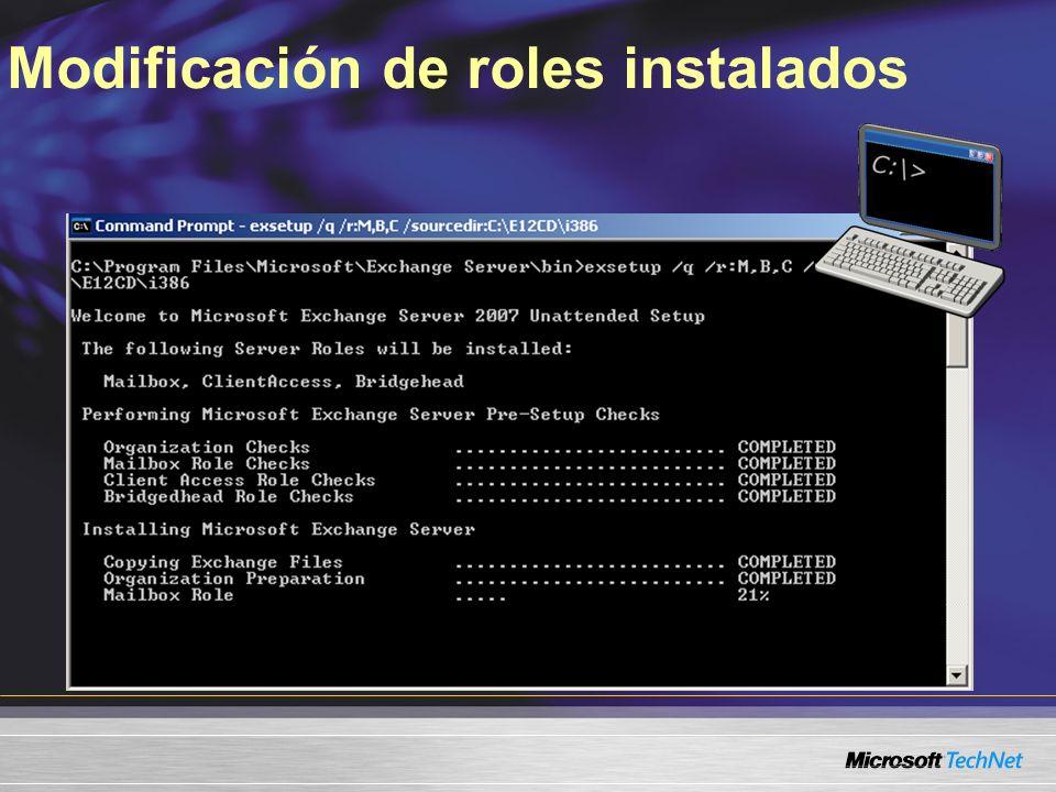 Modificación de roles instalados