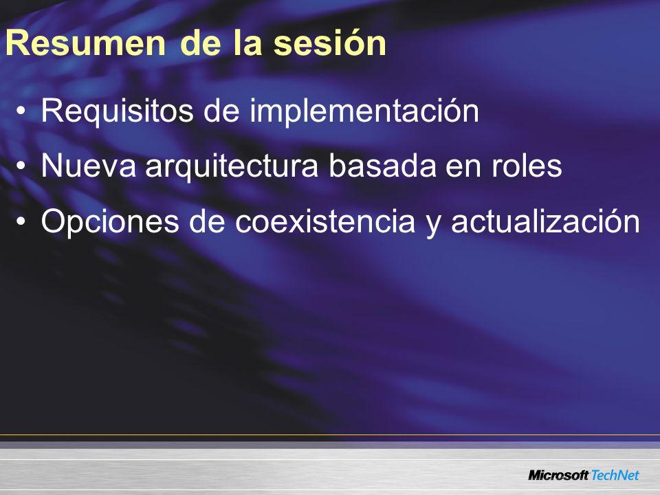 Resumen de la sesión Requisitos de implementación Nueva arquitectura basada en roles Opciones de coexistencia y actualización
