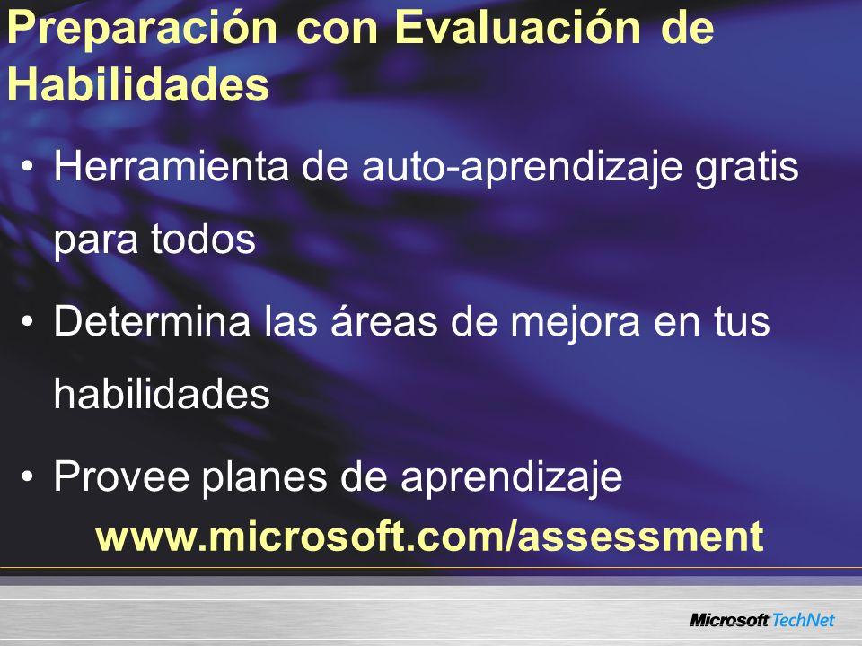 Herramienta de auto-aprendizaje gratis para todos Determina las áreas de mejora en tus habilidades Provee planes de aprendizaje www.microsoft.com/assessment Preparación con Evaluación de Habilidades