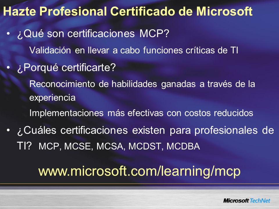 Hazte Profesional Certificado de Microsoft ¿Qué son certificaciones MCP.