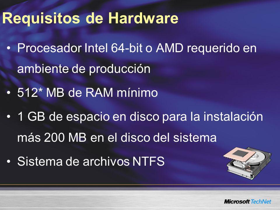 Requisitos de Software Microsoft Windows Server 2003 SP1 Microsoft Windows Server 2003 R2 es soportado Microsoft.NET Framework 2.0 MMC 3.0