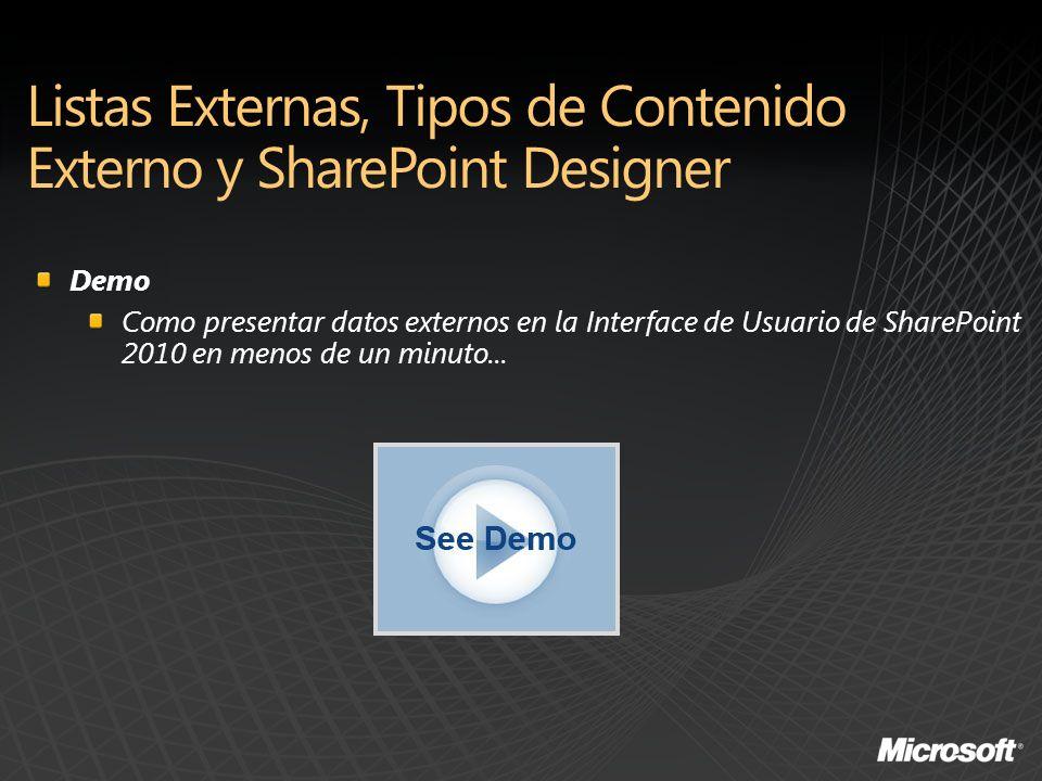 Demo Como presentar datos externos en la Interface de Usuario de SharePoint 2010 en menos de un minuto...
