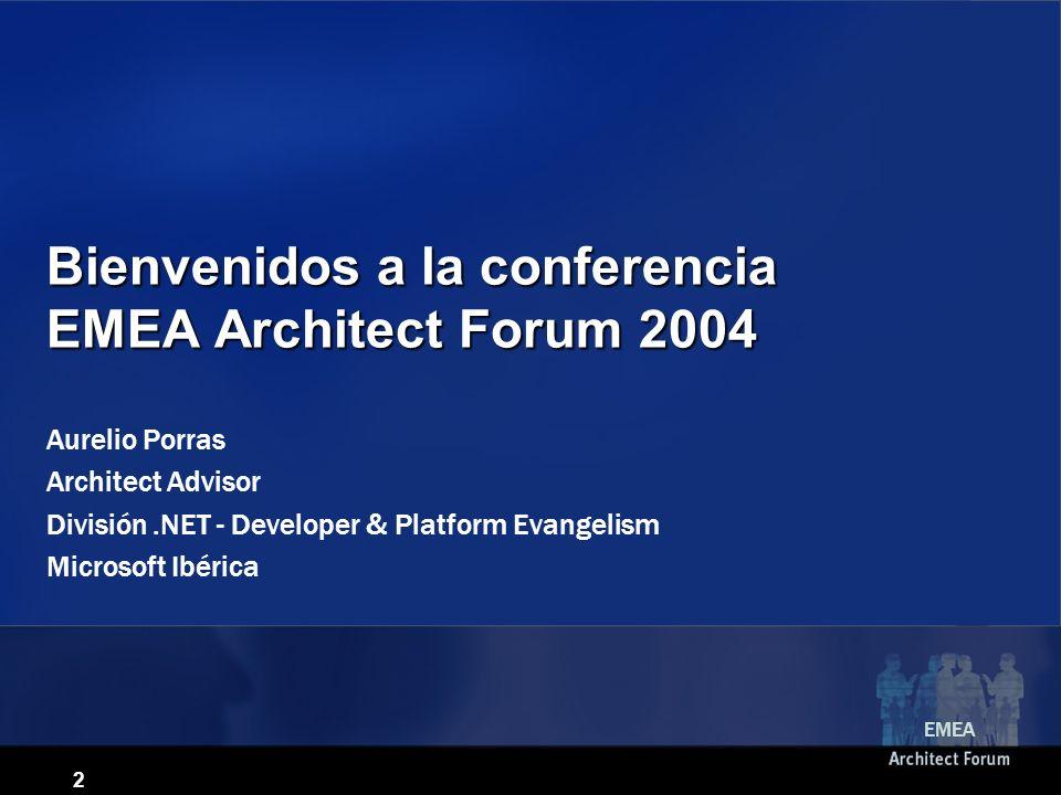 2 Bienvenidos a la conferencia EMEA Architect Forum 2004 Aurelio Porras Architect Advisor División.NET - Developer & Platform Evangelism Microsoft Ibérica