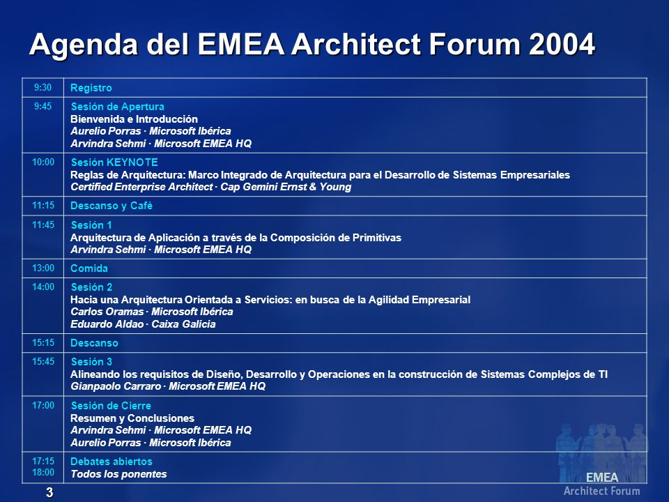 EMEA 4 Agenda del EMEA Architect Forum 2004 9:30 Registro 9:45 Sesión de Apertura Bienvenida e Introducción Aurelio Porras · Microsoft Ibérica Arvindra Sehmi · Microsoft EMEA HQ 10:00 Sesión KEYNOTE Reglas de Arquitectura: Marco Integrado de Arquitectura para el Desarrollo de Sistemas Empresariales Certified Enterprise Architect · Cap Gemini Ernst & Young 11:15 Descanso y Café 11:45 Sesión 1 Alineando los requisitos de Diseño, Desarrollo y Operaciones en la construcción de Sistemas Complejos de TI Gianpaolo Carraro · Microsoft EMEA HQ 13:00 Comida 14:00 Sesión 2 Hacia una Arquitectura Orientada a Servicios: en busca de la Agilidad Empresarial Carlos Oramas · Microsoft Ibérica Eduardo Aldao · Caixa Galicia 15:15 Descanso 15:45 Sesión 3 Arquitectura de Aplicación a través de la Composición de Primitivas Arvindra Sehmi · Microsoft EMEA HQ 17:00 Sesión de Cierre Resumen y Conclusiones Arvindra Sehmi · Microsoft EMEA HQ Aurelio Porras · Microsoft Ibérica 17:15 18:00 Debates abiertos Todos los ponentes
