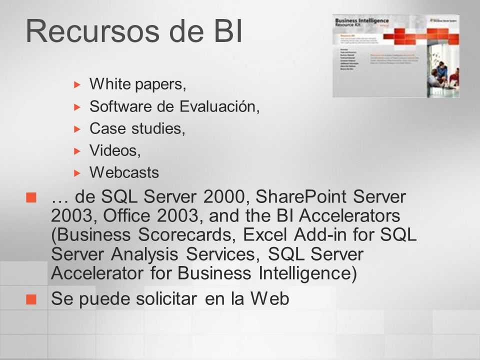 Recursos de BI White papers, Software de Evaluación, Case studies, Videos, Webcasts … de SQL Server 2000, SharePoint Server 2003, Office 2003, and the