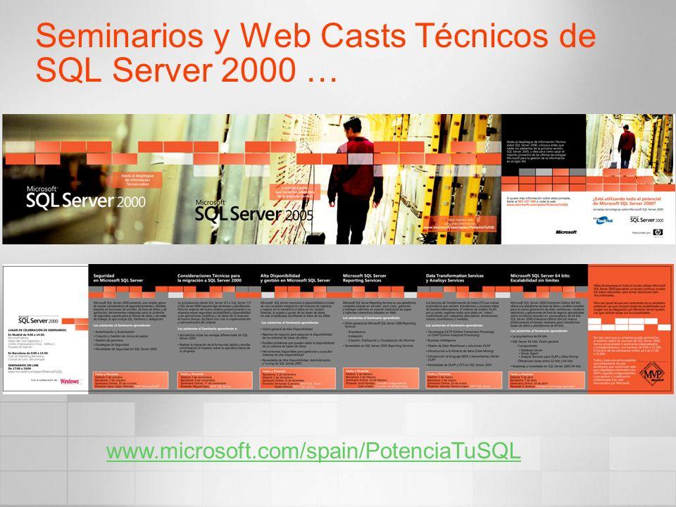 Seminarios y Web Casts Técnicos de SQL Server 2000 … www.microsoft.com/spain/PotenciaTuSQL