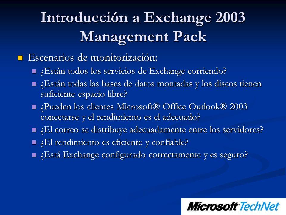 Introducción a Exchange 2003 Management Pack Escenarios de monitorización: Escenarios de monitorización: ¿Están todos los servicios de Exchange corrie