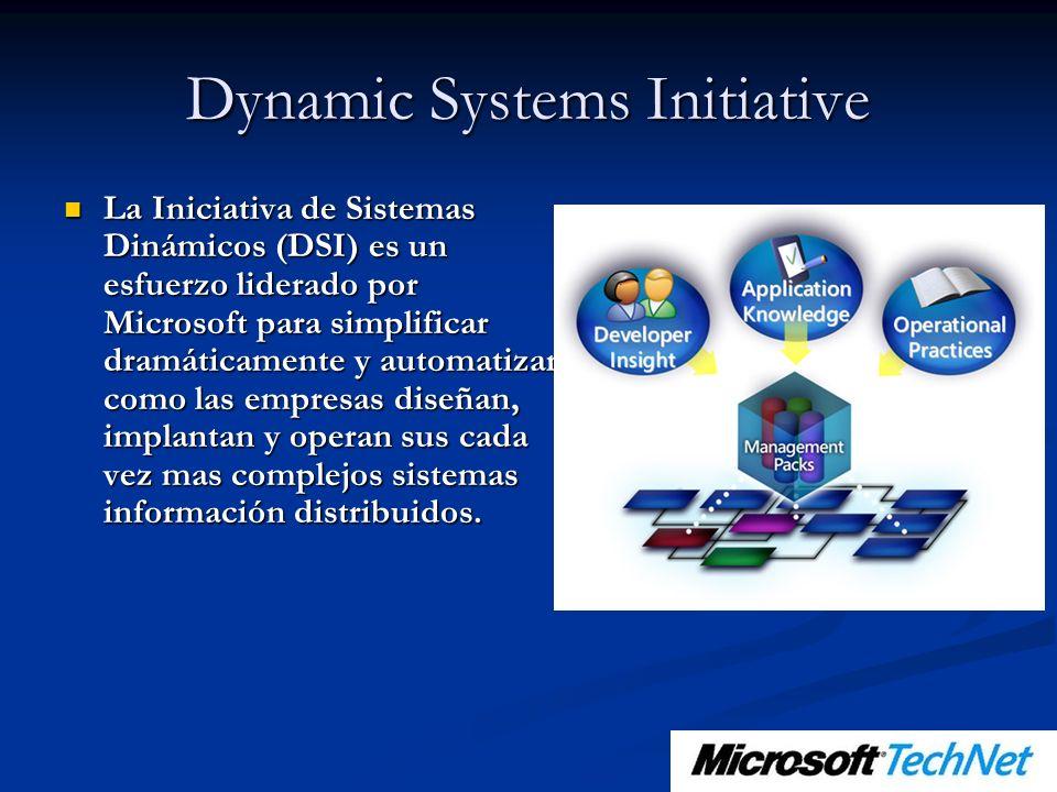 Dynamic Systems Initiative La Iniciativa de Sistemas Dinámicos (DSI) es un esfuerzo liderado por Microsoft para simplificar dramáticamente y automatizar como las empresas diseñan, implantan y operan sus cada vez mas complejos sistemas información distribuidos.