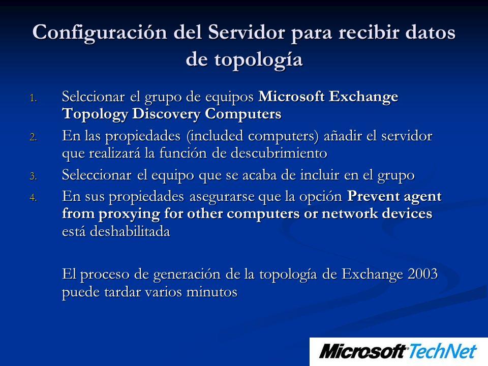 Configuración del Servidor para recibir datos de topología 1. Selccionar el grupo de equipos Microsoft Exchange Topology Discovery Computers 2. En las