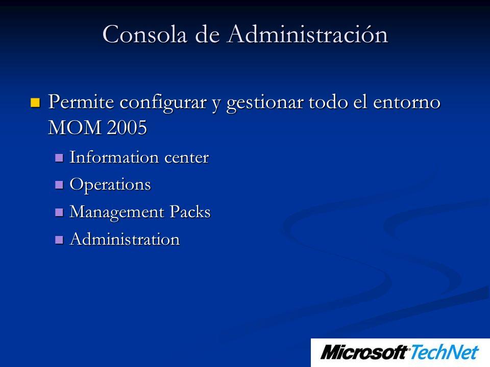 Consola de Administración Permite configurar y gestionar todo el entorno MOM 2005 Permite configurar y gestionar todo el entorno MOM 2005 Information center Information center Operations Operations Management Packs Management Packs Administration Administration