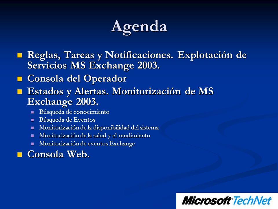Agenda Reglas, Tareas y Notificaciones. Explotación de Servicios MS Exchange 2003. Reglas, Tareas y Notificaciones. Explotación de Servicios MS Exchan