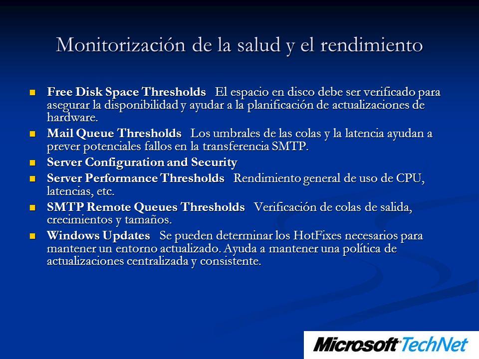Monitorización de la salud y el rendimiento Free Disk Space Thresholds El espacio en disco debe ser verificado para asegurar la disponibilidad y ayudar a la planificación de actualizaciones de hardware.