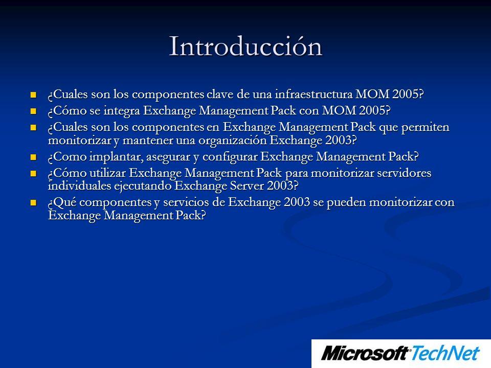 Introducción ¿Cuales son los componentes clave de una infraestructura MOM 2005? ¿Cuales son los componentes clave de una infraestructura MOM 2005? ¿Có