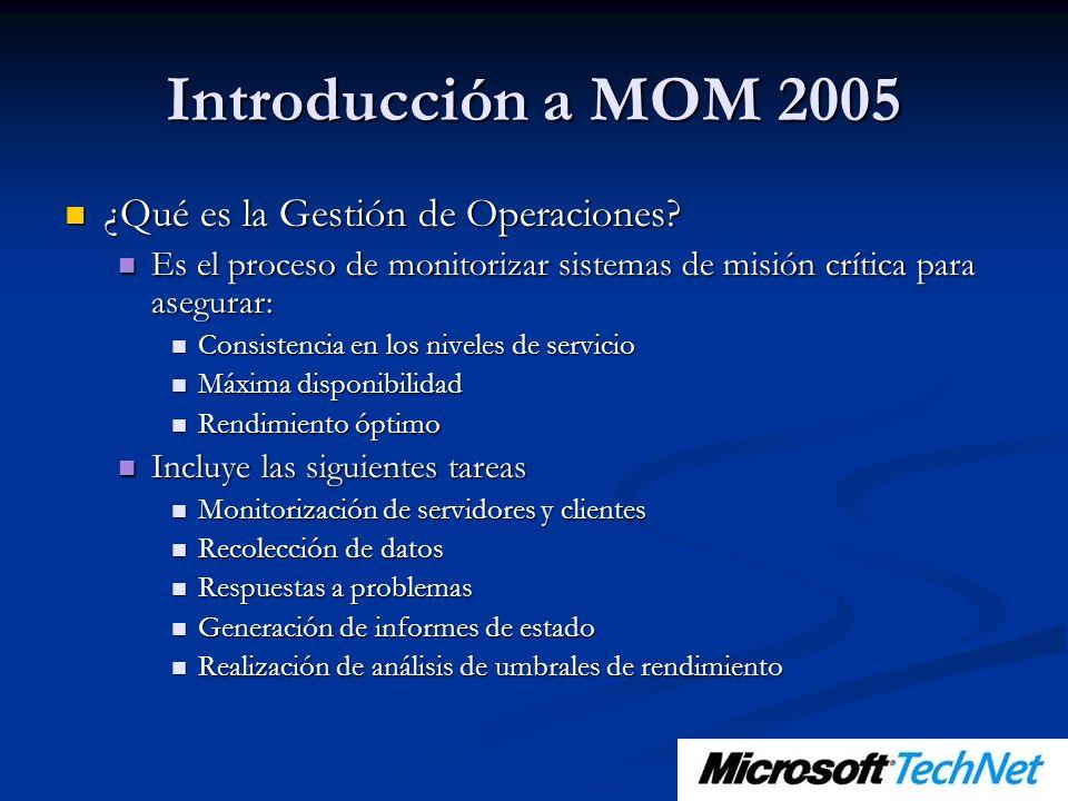 Introducción a MOM 2005 ¿Qué es la Gestión de Operaciones? ¿Qué es la Gestión de Operaciones? Es el proceso de monitorizar sistemas de misión crítica