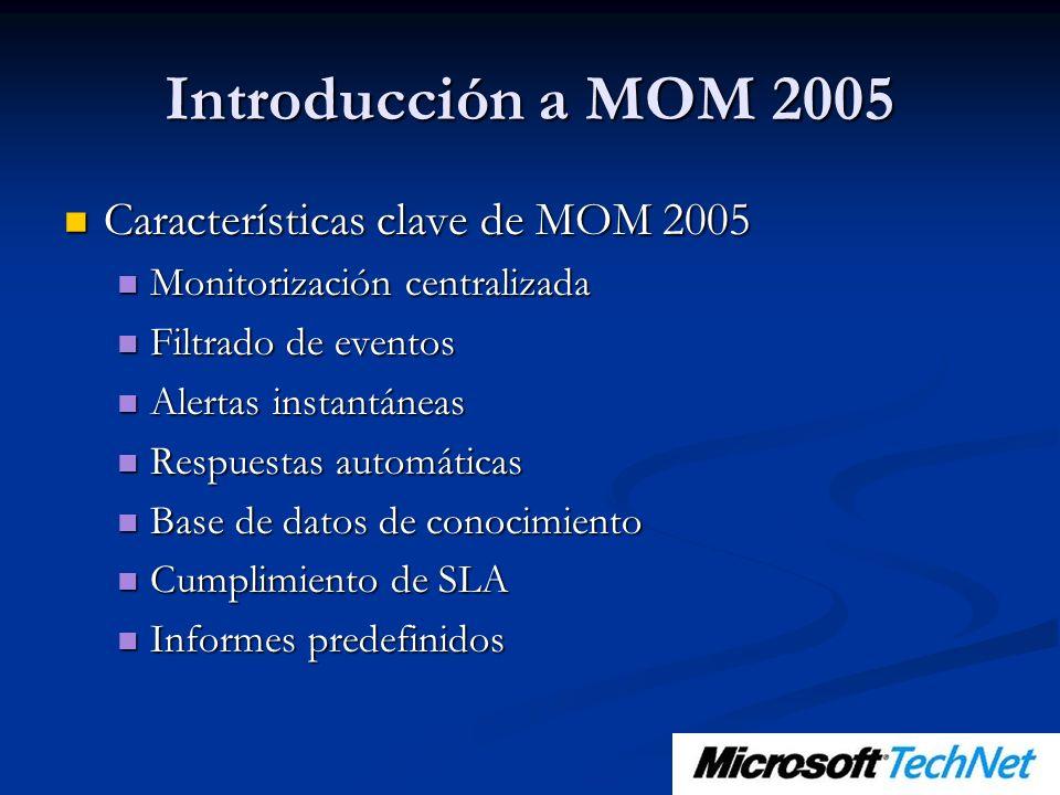 Introducción a MOM 2005 Características clave de MOM 2005 Características clave de MOM 2005 Monitorización centralizada Monitorización centralizada Fi