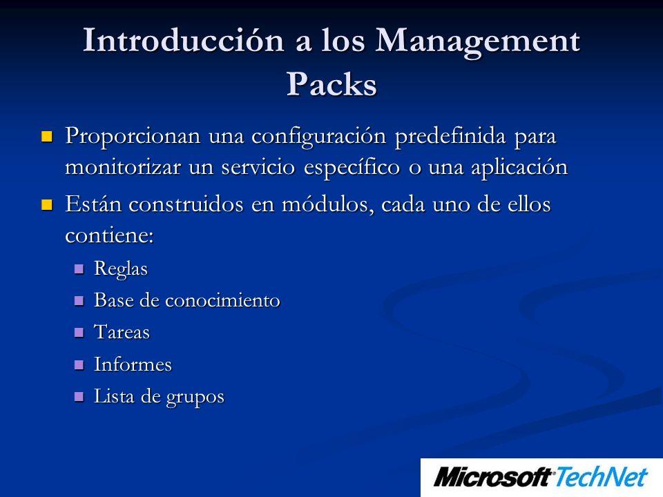 Introducción a los Management Packs Proporcionan una configuración predefinida para monitorizar un servicio específico o una aplicación Proporcionan u