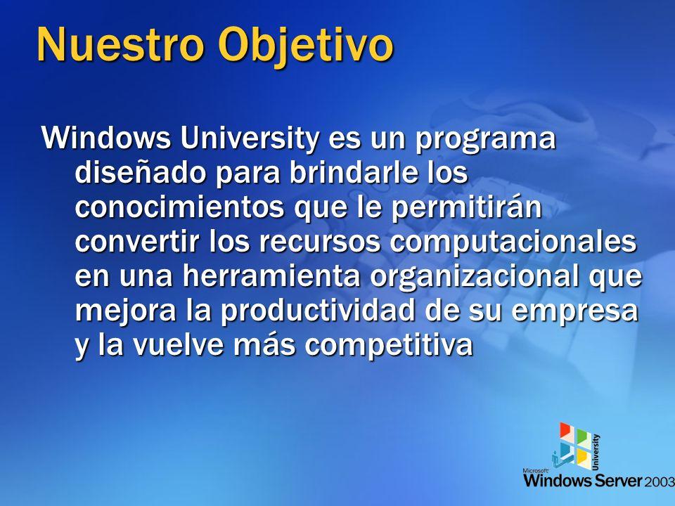 Nuestro Objetivo Windows University es un programa diseñado para brindarle los conocimientos que le permitirán convertir los recursos computacionales en una herramienta organizacional que mejora la productividad de su empresa y la vuelve más competitiva
