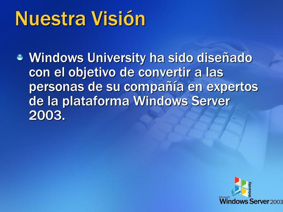 Nuestra Visión Windows University ha sido diseñado con el objetivo de convertir a las personas de su compañía en expertos de la plataforma Windows Server 2003.