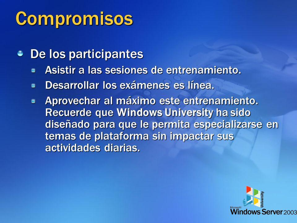 Compromisos De los participantes Asistir a las sesiones de entrenamiento.