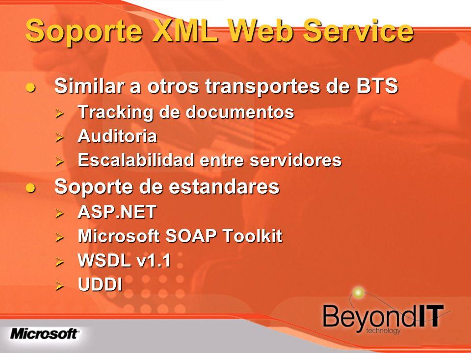 Soporte XML Web Service Similar a otros transportes de BTS Similar a otros transportes de BTS Tracking de documentos Tracking de documentos Auditoria