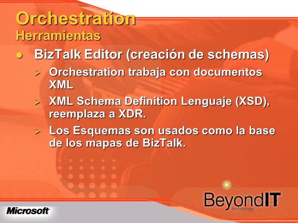 Orchestration Herramientas BizTalk Editor (creación de schemas) BizTalk Editor (creación de schemas) Orchestration trabaja con documentos XML Orchestr