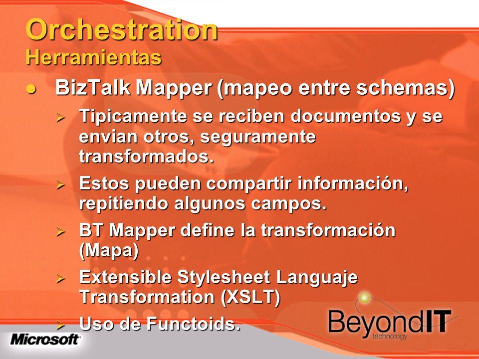 Orchestration Herramientas BizTalk Mapper (mapeo entre schemas) BizTalk Mapper (mapeo entre schemas) Tipicamente se reciben documentos y se envian otr