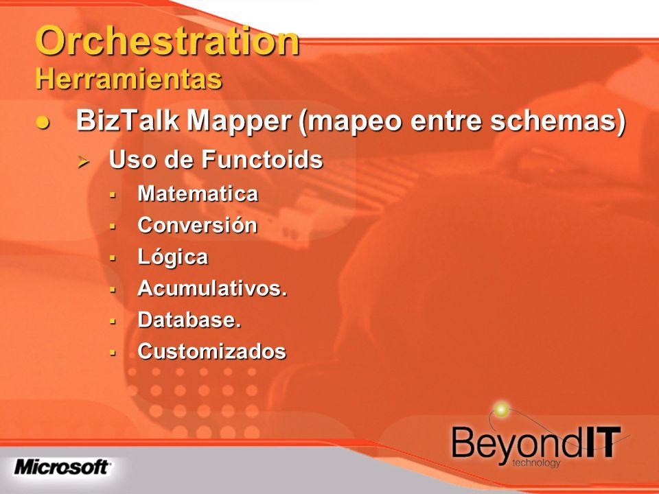 Orchestration Herramientas BizTalk Mapper (mapeo entre schemas) BizTalk Mapper (mapeo entre schemas) Uso de Functoids Uso de Functoids Matematica Mate