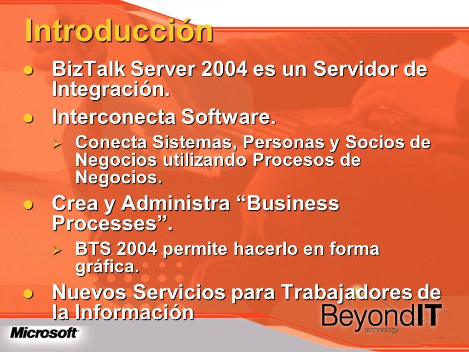 Introducción BizTalk Server 2004 es un Servidor de Integración. BizTalk Server 2004 es un Servidor de Integración. Interconecta Software. Interconecta