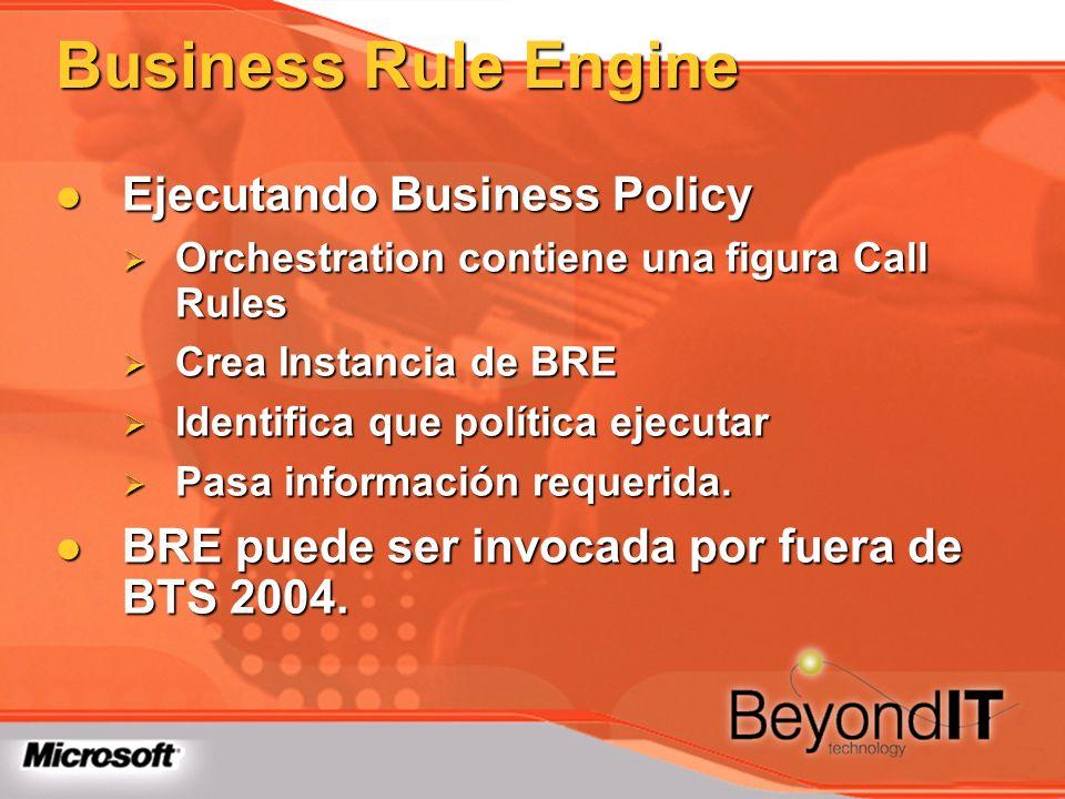 Business Rule Engine Ejecutando Business Policy Ejecutando Business Policy Orchestration contiene una figura Call Rules Orchestration contiene una fig