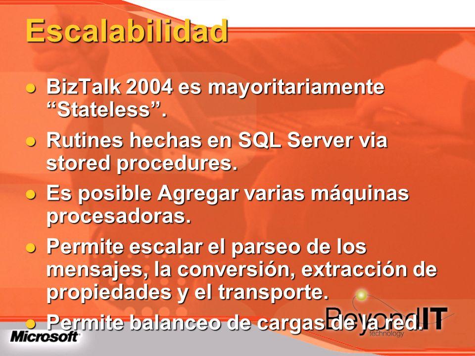 Escalabilidad BizTalk 2004 es mayoritariamente Stateless. BizTalk 2004 es mayoritariamente Stateless. Rutines hechas en SQL Server via stored procedur