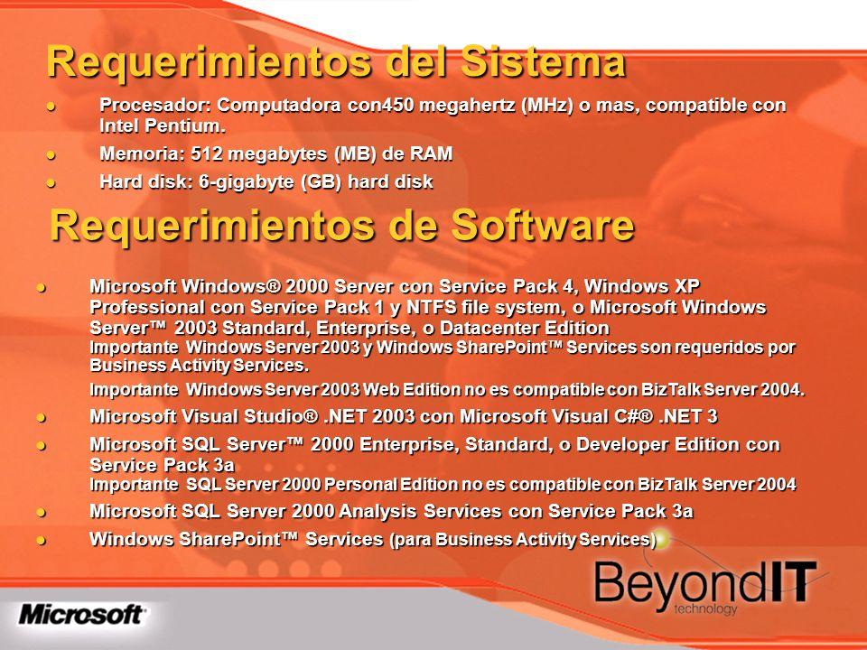 Requerimientos del Sistema Procesador: Computadora con450 megahertz (MHz) o mas, compatible con Intel Pentium. Procesador: Computadora con450 megahert
