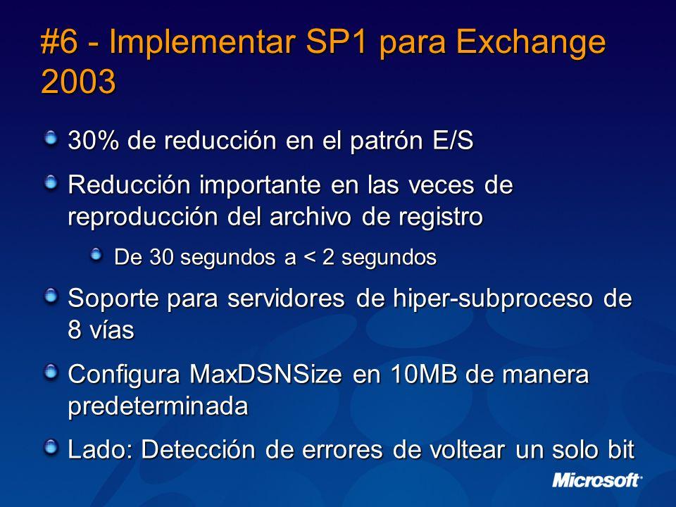 #6 - Implementar SP1 para Exchange 2003 30% de reducción en el patrón E/S Reducción importante en las veces de reproducción del archivo de registro De 30 segundos a < 2 segundos Soporte para servidores de hiper-subproceso de 8 vías Configura MaxDSNSize en 10MB de manera predeterminada Lado: Detección de errores de voltear un solo bit